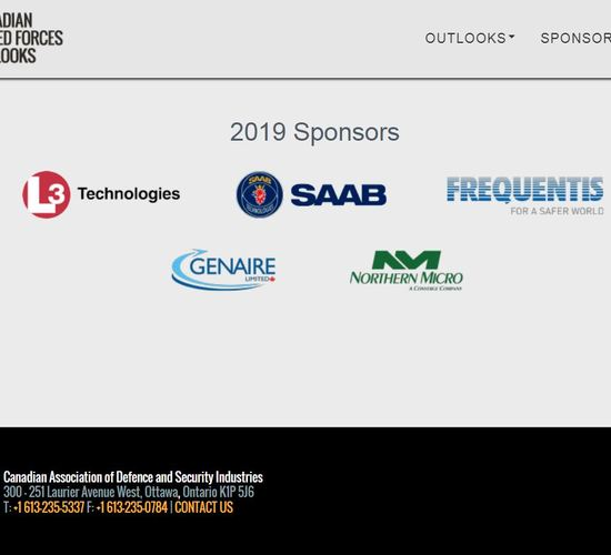 Genaire Limited is a PROUD Sponsor of the CANADIAN ARMED FORCES OUTLOOKS APRIL 2 - 4, 2019